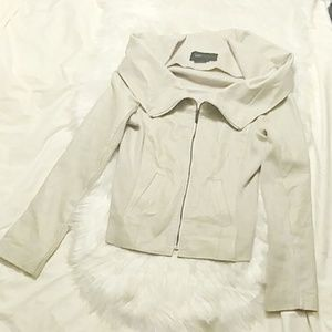 BCBG Max Azria Leather Jacket w/Fabric Inserts